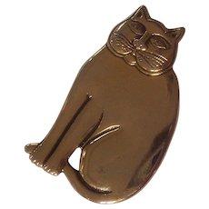Laurel Burch Fat Cat Brooch / Pendant Gold tone