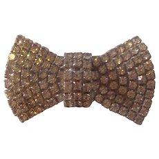 Vintage Rhinestone Bow Tie Brooch Silver tone