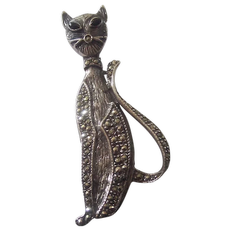 Sterling Silver Marcasite Tall Cat Brooch