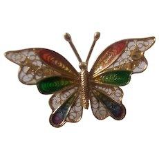 Sterling Silver Plique a Jour Enamel Italian Filigree Butterfly Brooch Gold Gilt