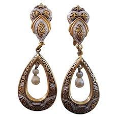 Vintage Spanish Damascene Dangling w/Faux Pearls Earrings on Card