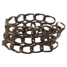 Wide Monet 3 Row Link Bracelet Gold tone