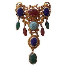 Amazing Huge Etruscan Revival Cabochon Dangle Art Glass Brooch