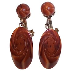 Wonderful Lucite Faux Wood Slab Clip on Earrings