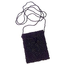 Black Beaded Pouch Necklace or Over Shoulder Evening Purse
