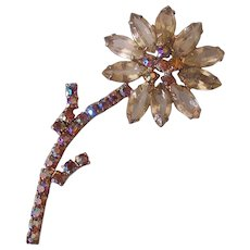 Vintage Long Stem Rhinestone Flower Brooch with Aurora Borealis Stones