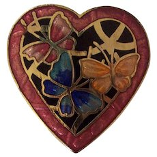 Sweet Enamel Cloisonne Butterflies on Heart Brooch
