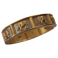 Elephant Hinged Bangle Bracelet in Gold and Silver tone