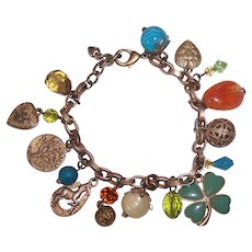 Pretty Costume Good Luck Charm Bracelet in GOld tone