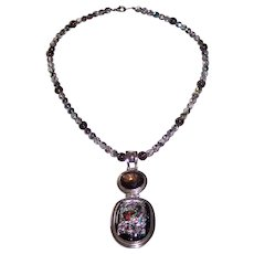 Sterling Silver Dichroic Glass Pendant Bead Necklace