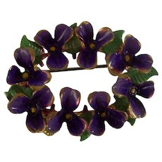 Painted Enamel Violets Brooch in Brass