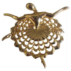 Ballet Dancer Brooch Gold tone