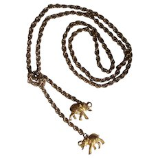 Great Elephant Lariat Necklace in Gold tone