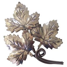 Sterling Silver Triple Maple Leaf Brooch