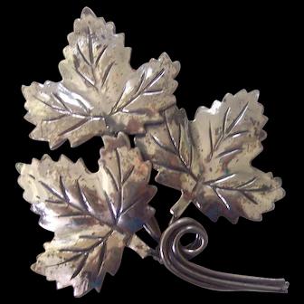 Sterling Silver Triple Maple Leaf Brooch
