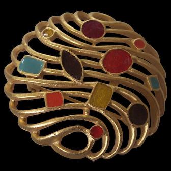 Pretty Multi Color Enamel Abstract Pin Gold tone