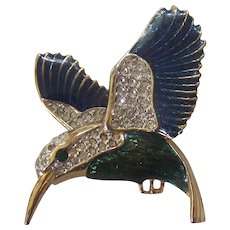 Pretty Enamel and Rhinestone Hummingbird Brooch