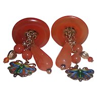 Carnelian and Enamel Butterfly Clip on Earrings