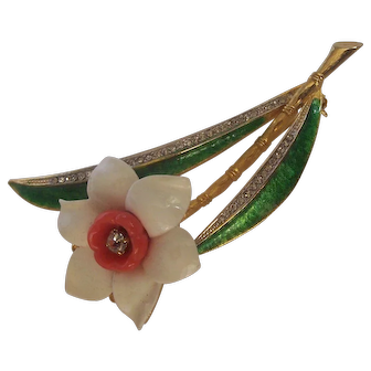 Hattie Carnegie Faux Ivory & Coral and Enamel Flower Brooch Lucite
