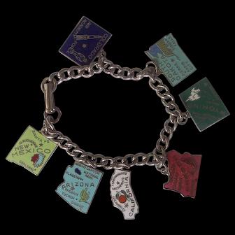 Enamel States Charm Bracelet Silver tone
