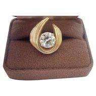 2 Carat Old European Cut Diamond 14K Gold Fashion RIng