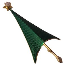Cerrito Green Enamel Christmas Tree Brooch