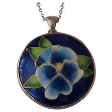 Vintage Enamel on Sterling Floral Pendant Necklace Silver