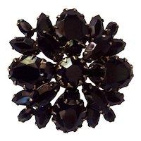 Vintage Regency Large Layered Black RS Gold tone Brooch