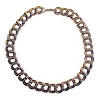 Chunky Double Link Necklace Silver tone