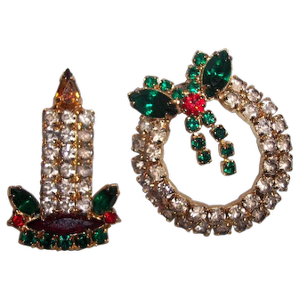 Set of 2 Christmas Rhinestone Brooches Candle and Wreath