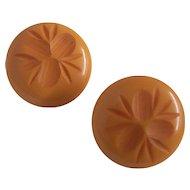 Carved Bakelite Earrings Corn Flower Butterscotch Clip on