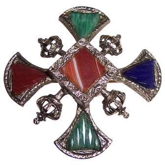 Crowns with Cross Scottish Faux Agate Stones Brooch or Pendant