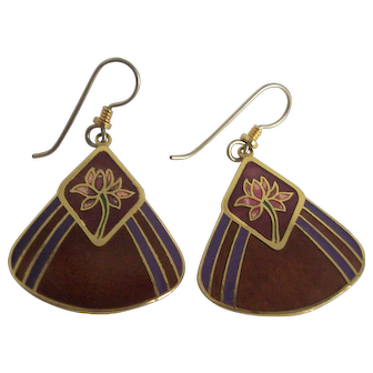 Laurel Burch Enamel Fan Shaped Water Lily Earrings