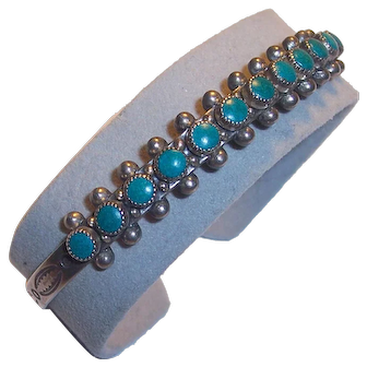 Sterling Native American Turquoise Silver Cuff Bracelet