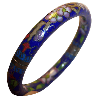 Hinged Chinese Cloisonne Floral Bangle Bracelet Cobalt Blue