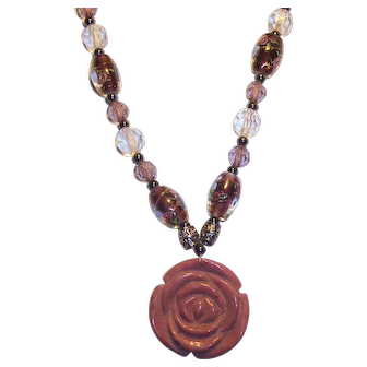 Carved Marble Type Stone Rose Art Glass Beaded Necklace