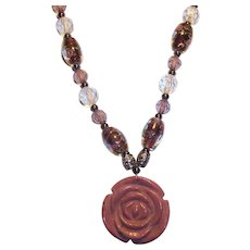 Carved Stone Rose Art Glass Beaded Necklace