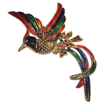 "Giant Costume Enamel Bird Brooch 6"" Red Green Blue Gold tone"