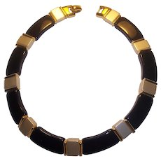 Napier Black Lucite and Pearlized Necklace Gold tone