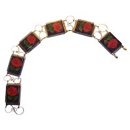 Reverse Carved Red Rose Lucite Link Bracelet with Gold tone Wire
