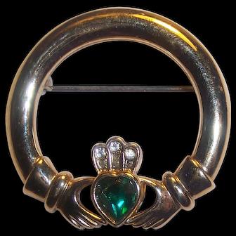 Irish Claddagh Gold tone Brooch Green Heart Rhinestone Signed