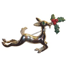 Gerrys Christmas Reindeer Brooch with Holly & Berries