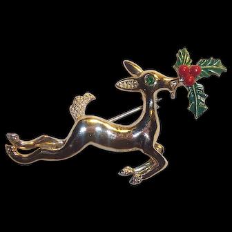 Gerrys Christmas Reindeer Brooch with Holly & Berries
