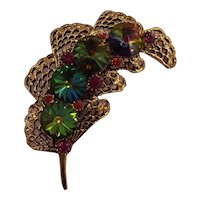 Watermelon Rivoli Leaf Brooch Gold tone