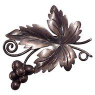 Damasco Gallegos Taxco Mexican Sterling Silver Grape Leaf Brooch