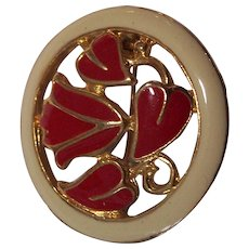 Red & Cream Enamel Heart Leaf Circle Pin