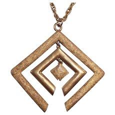 Mod Gold tone  Pendant Necklace