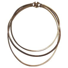 Vintage Triple Strand Gold tone Snake Necklace