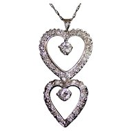 Stunning 1.20 Carats Diamond 14K Gold Double Hearts Pendant Necklace