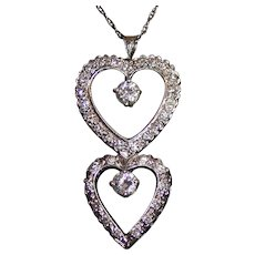 Stunning 1.20 Carats Diamond 14K Gold Double Hearts Pendant Necklace